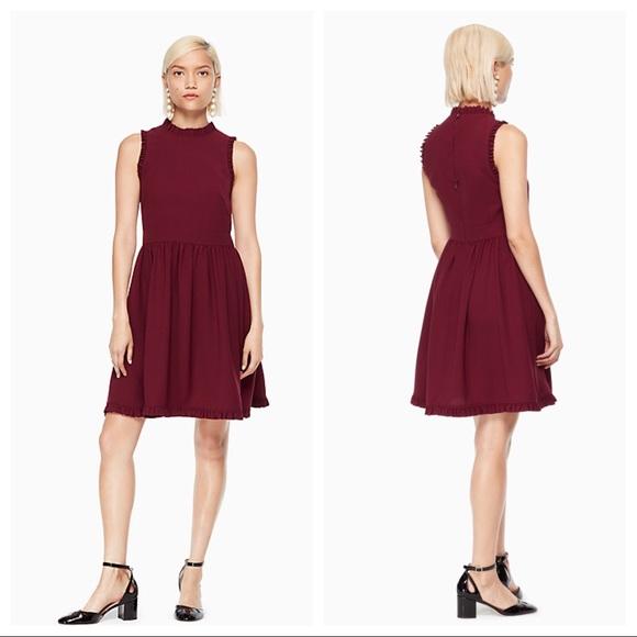 2df829dc13ed kate spade Dresses | Deep Cherry Ruffle Fit And Flare Dress | Poshmark